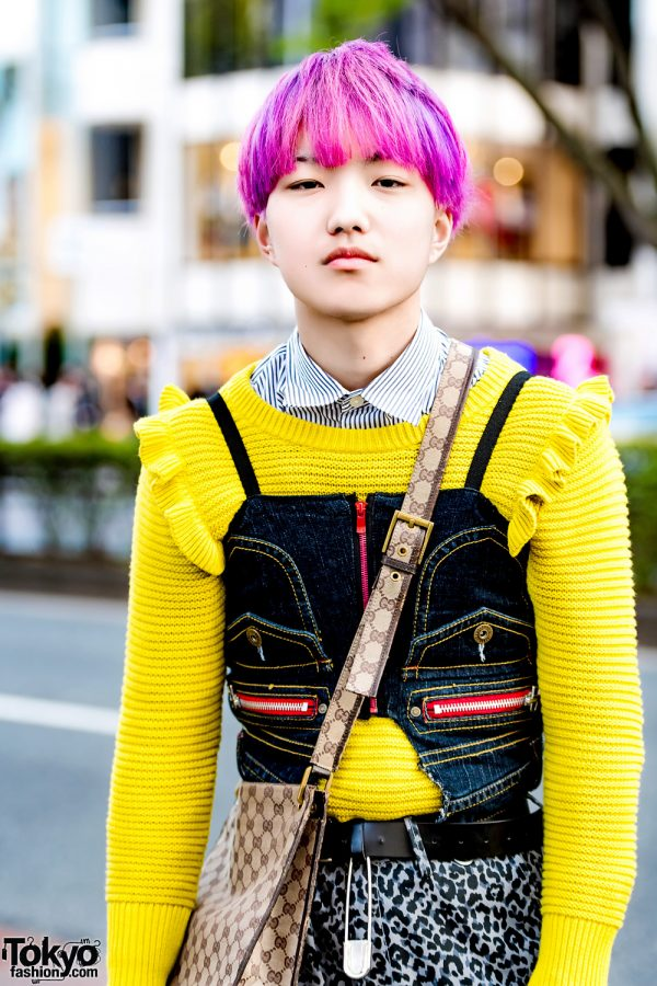 Pink Haired Harajuku Guy In Eclectic Layered Street Style
