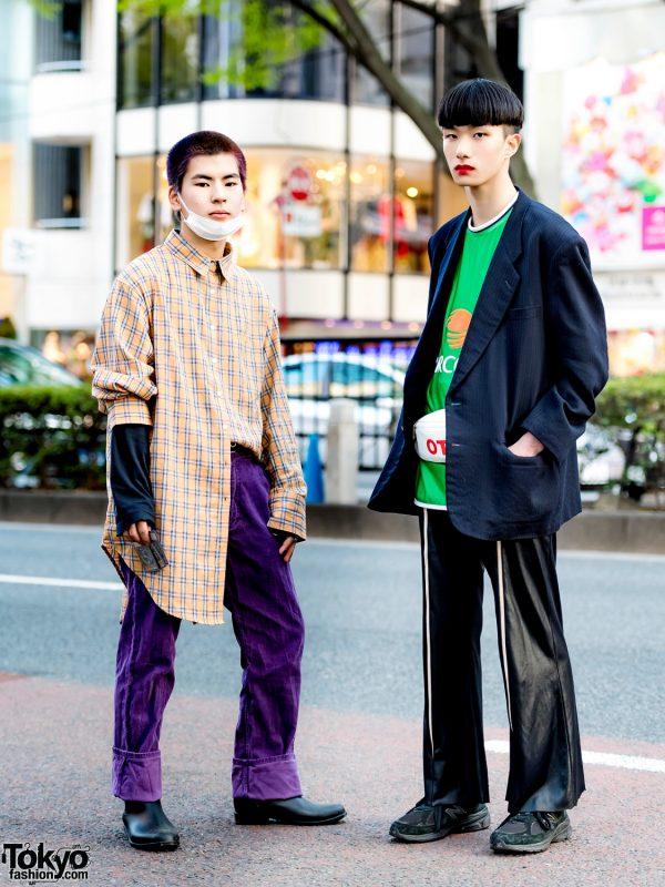 Harajuku Vintage Menswear Street Styles w/ Comme des Garcons, Umbro, Onitsuka Tiger, Punyus, Yu-Gi-Oh! Cards & Red Lipstick