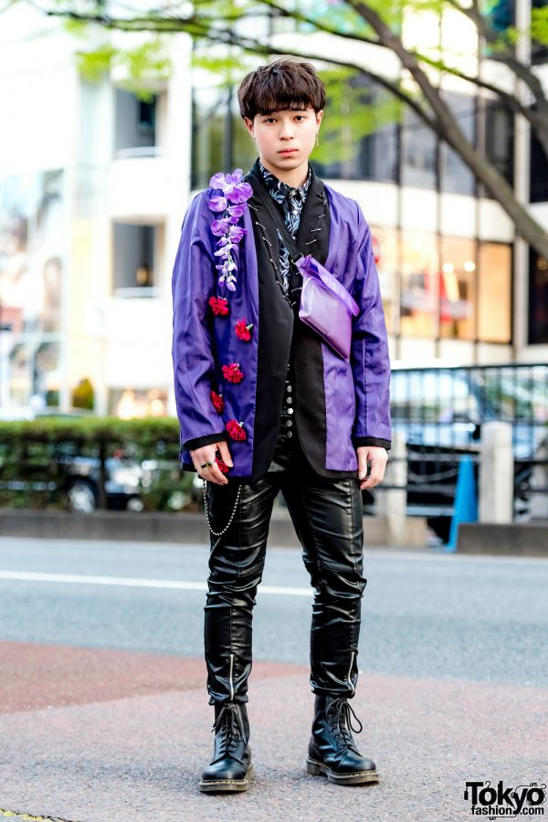Handmade Floral Jacket & Black Leather Pants & Dr. Martens Harajuku Streetwear Style