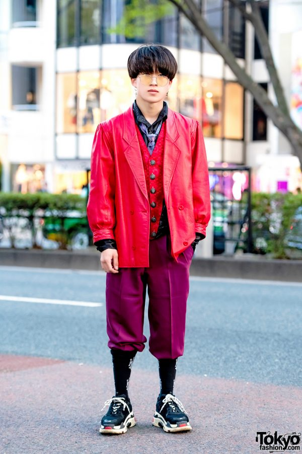 Harajuku Guy in Red & Purple Vintage Menswear Street Style