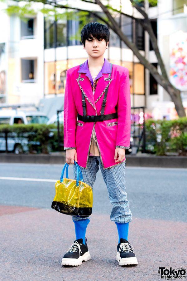 Vintage Pink Blazer, Faith Tokyo Top, Oh Pearl Bag & Eytys Sneakers in Harajuku