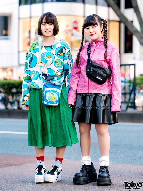 Harajuku Teens in Colorful Street Styles w/ RRR By Sugar Spot Factory, Strawberry Fields, Never Mind the XU, Kinji & Jeffrey Campbell