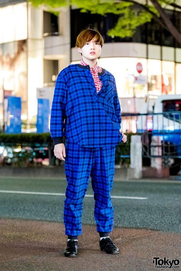 Blue & Black Plaid Suit Harajuku Menswear Street Style