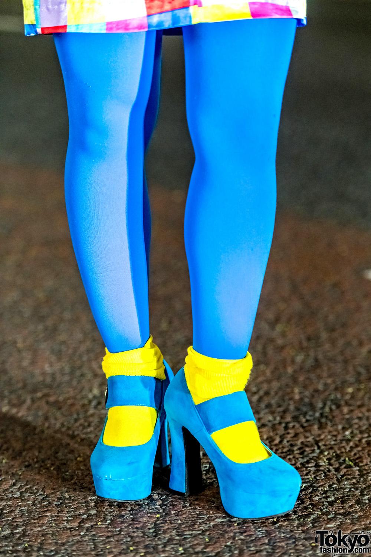 Blue Tights Yellow Socks Amp Blue Suede Platform Heels
