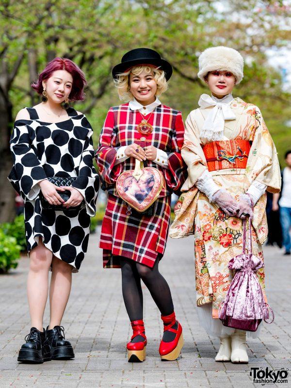 Japanese Street Styles w/ Vintage Kimono, Comme des Garcons Cutout Dress & Vivienne Westwood