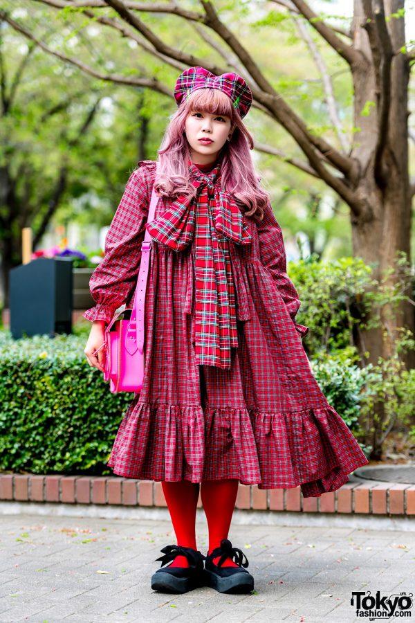 Kinji Tokyo Vintage Staffer in Red Plaid Style w/ HEIHEI, Tokyo Bopper & The Cambridge Satchel Company