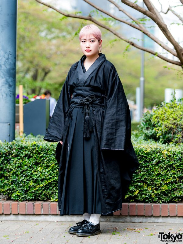 Black Japanese Kimono Street Style w/ Tricot Comme des Garcons & Dr. Martens