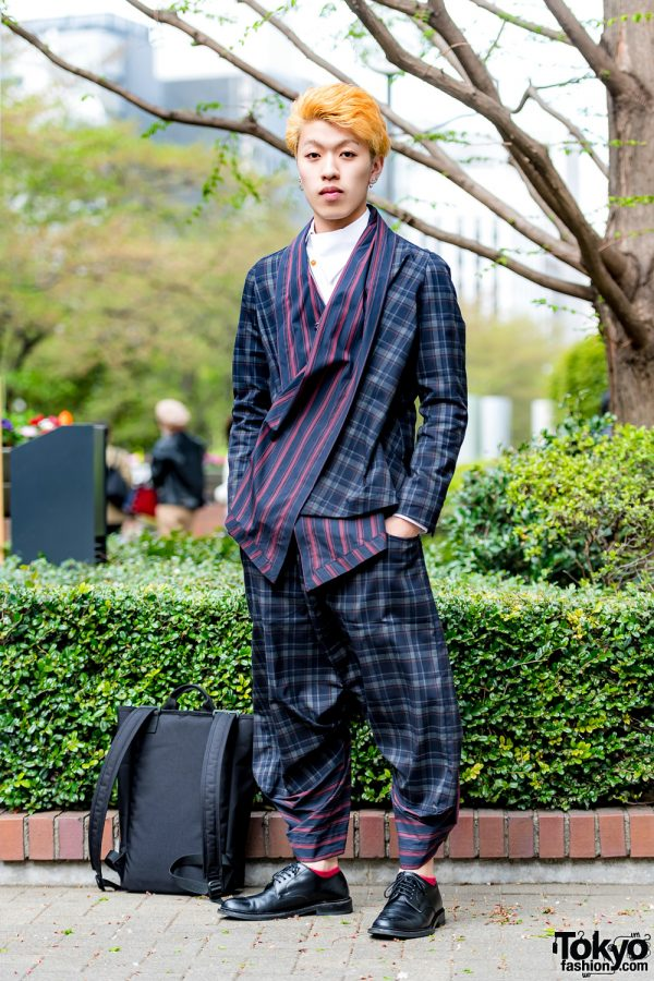 Harajuku Guy in Plaid Japanese Street Style w/ Vivienne Westwood, Manhattan Portage & Regal