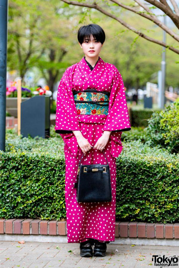 Pink Polka Dot Kimono, Floral Obi & Tokyo Bopper Shoes at Bunka Fashion College