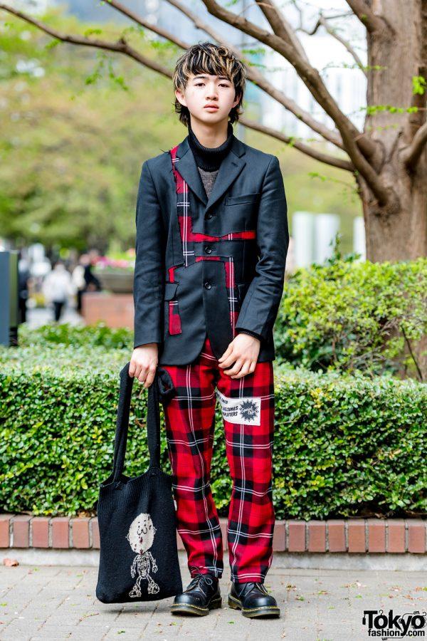 Black & Red Plaid Suit Vintage Style w/ Comme des Garcons Homme Plus, 20471120 & Dr. Martens