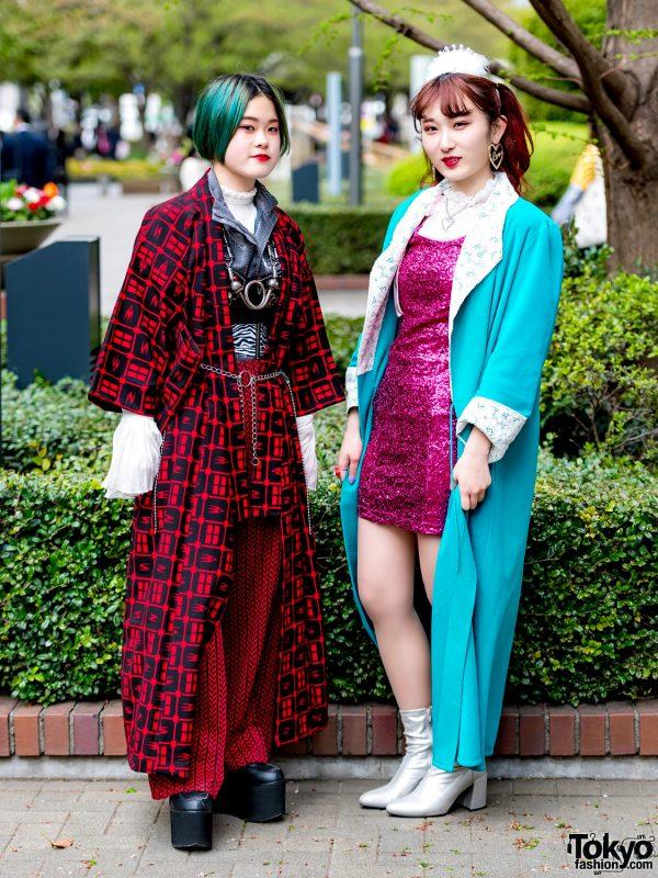 Vintage & Handmade Japanese Street Styles w/ Kimono Coat & Sequin Dress
