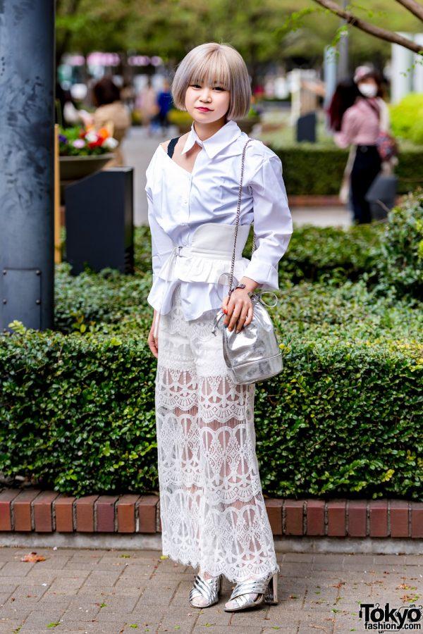 White Lace & Corset Belt Tokyo Street Style w/ Barrack Room, Hare, Rochie & KBF