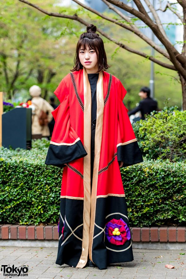 Red Kimono Coat & Black Leather Boots Street Style in Tokyo