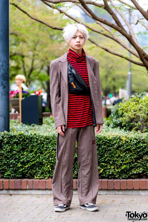 Tokyo Streetwear Style w/ OY Korea Tweed Suit, Live in the Moment Striped Top & Vans Sneakers