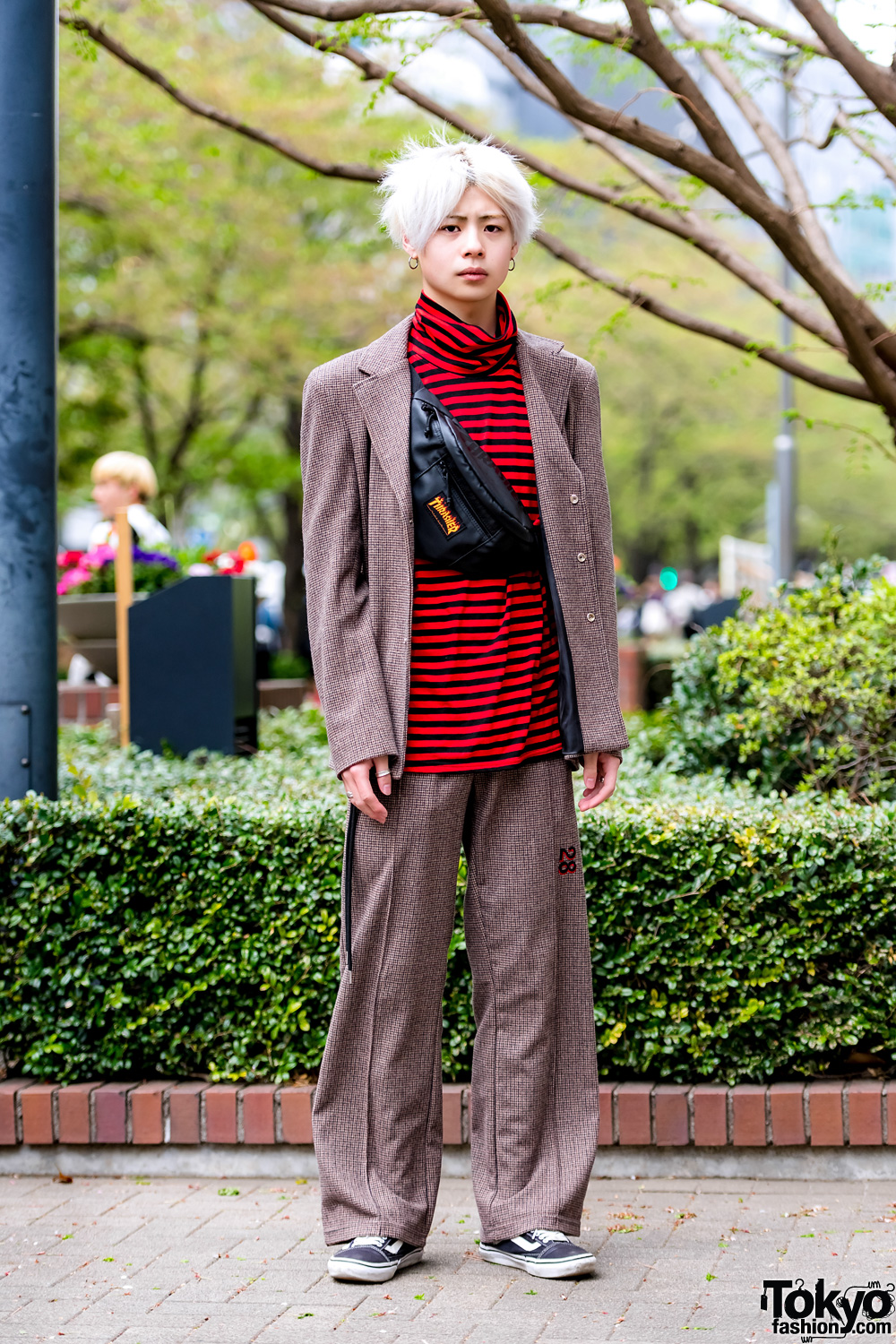 ebc6142e4 Tokyo Streetwear Style w/ OY Korea Tweed Suit, Live in the Moment Striped  Top & Vans Sneakers