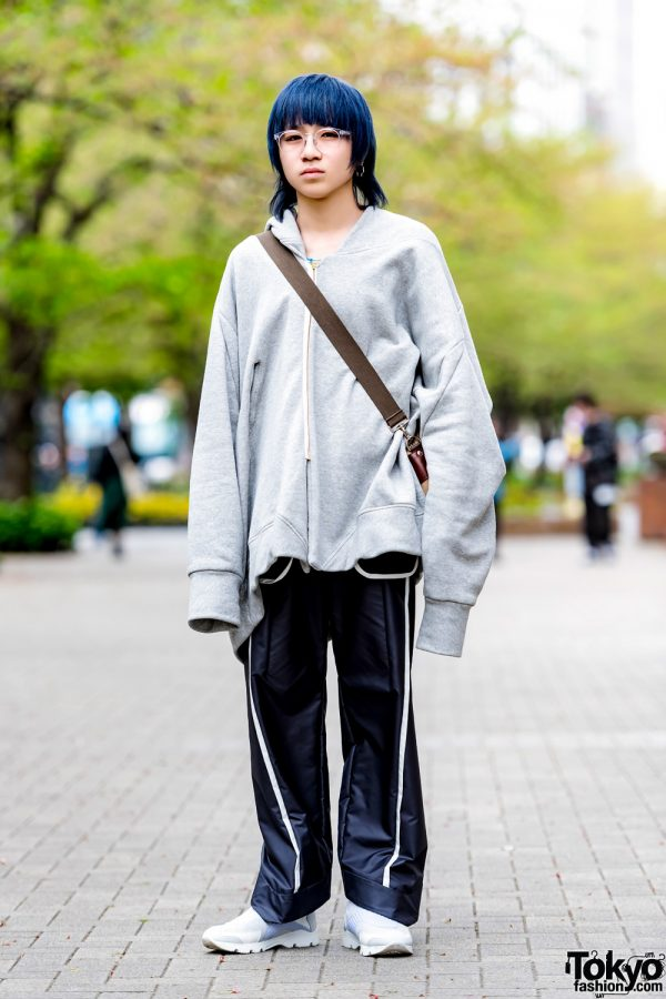 Blue-haired Harajuku Guy in Balmung Oversized Hoodie w/ Chloma, A.D.S.R, Ohta & Maison Margiela