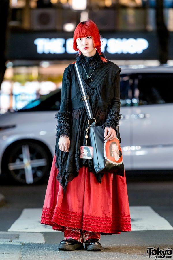 Red & Black Tokyo Street Style w/ Zucca, Snidel, Kinji, Last Virgin & Bubbles Harajuku