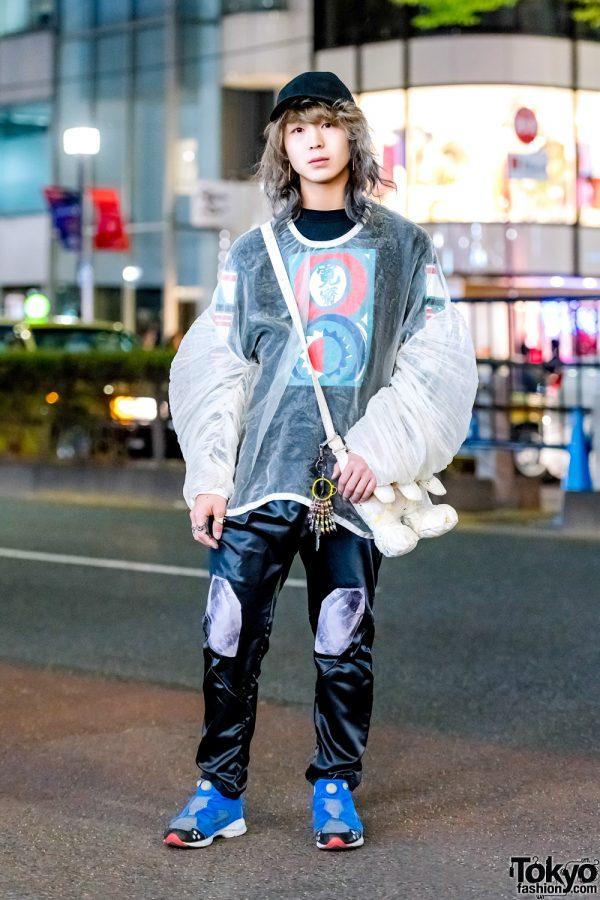 Balmung Sheer Top, Kansai Silk Pants, Bernhard Willhelm Bag & Reebok Sneakers in Harajuku