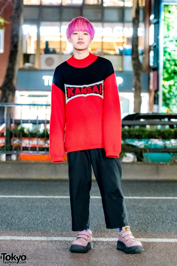 Pink-Haired Harajuku Guy in Kansai Yamamoto Knit Sweater, Y's Cropped Pants & AFF Suede Shoes