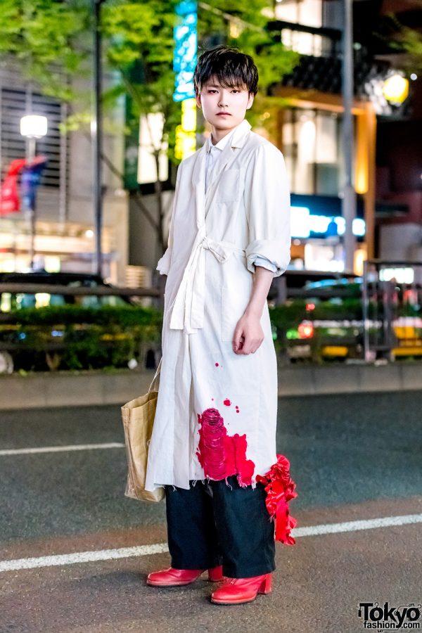 "Harajuku Statement Streetwear w/ Handmade ""Bloody"" Coat, Polo Ralph Lauren Pants & Comme des Garcons Tote Bag"