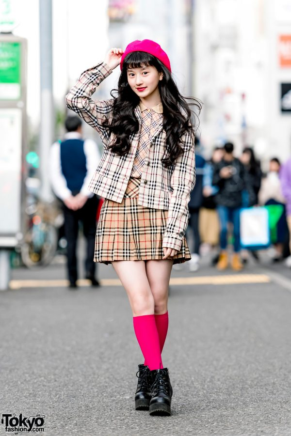 Japanese Model A-Pon in Harajuku w/ Burberry Plaid Fashion, Pink Beret & WEGO Boots