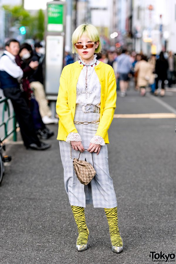 Modern Retro Street Style in Harajuku w/ Faith Tokyo Plaid Skirt, Metallic Slingbacks & Gucci Drawstring Pouch