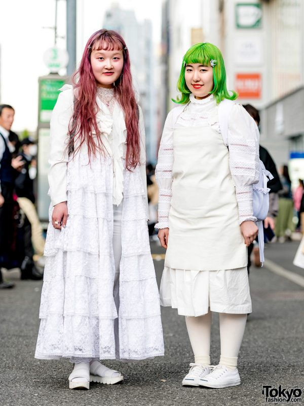 Pink & Green-Haired Japanese Girls in All White Layered Streetwear Styles