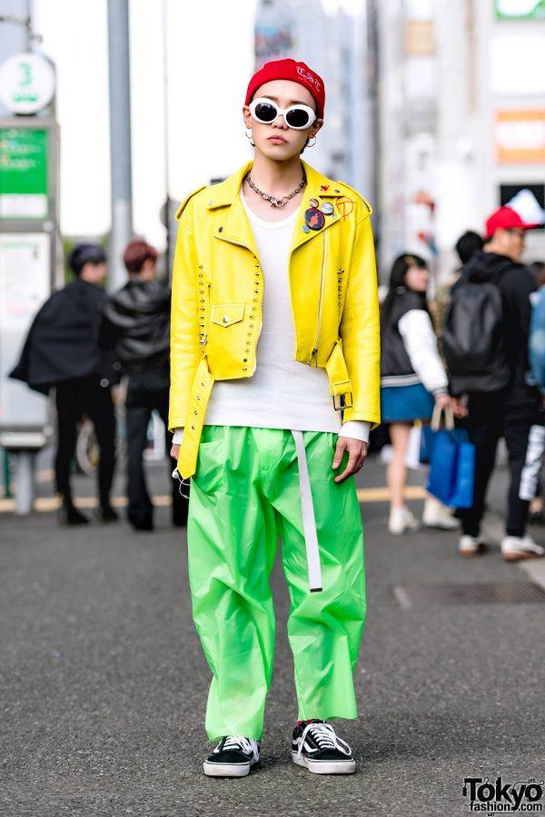 Yellow Biker Jacket & Green Pants in Harajuku w/ The Symbolic Tokyo, N.Hoolywood & Vans