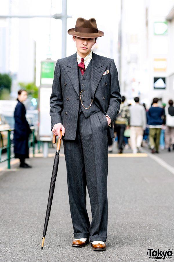 Retro Dapper Tokyo Street Style w/ Tailor-made Suit, Church's Shoes & Ramuda Umbrella