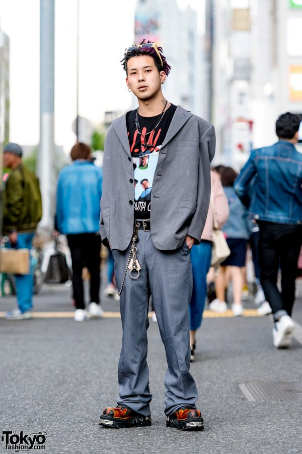 Kinji Staffer in Dreadlocks & Menswear Street Style w/ Kansai Yamamoto Suit & New Rock Flame Boots