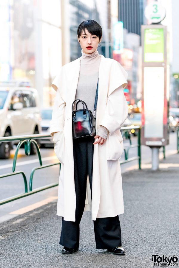 Japanese Model in Minimalist Street Style w/ Rito Maxi Coat & Comme des Garcons Leather Bag