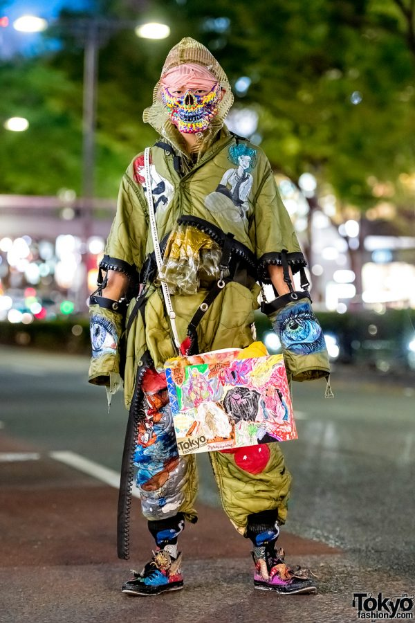 Japanese Avant-Garde Street Style w/ Dog Harajuku Remake Outfit, Snakeskin Sneakers & Handmade Tokyo Fashion Bag