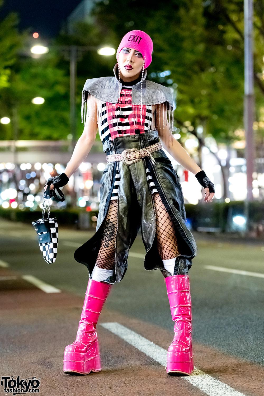GlamHate Designer in Edgy Black & Pink Harajuku Street Style