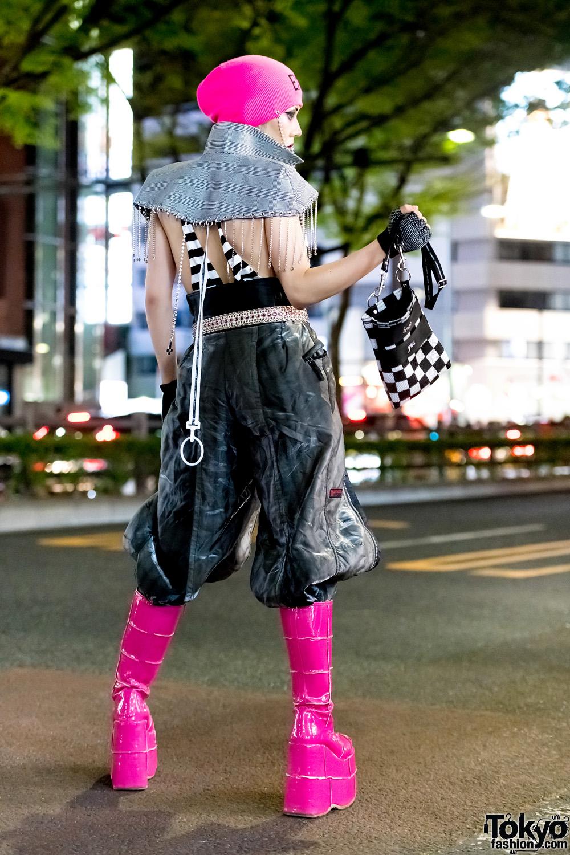 Glamhate Designer In Edgy Black Amp Pink Harajuku Street Style