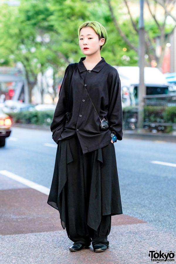 Minimalist Japanese Streetwear Style w/ Green Hair, Yohji Yamamoto & Issey Miyake