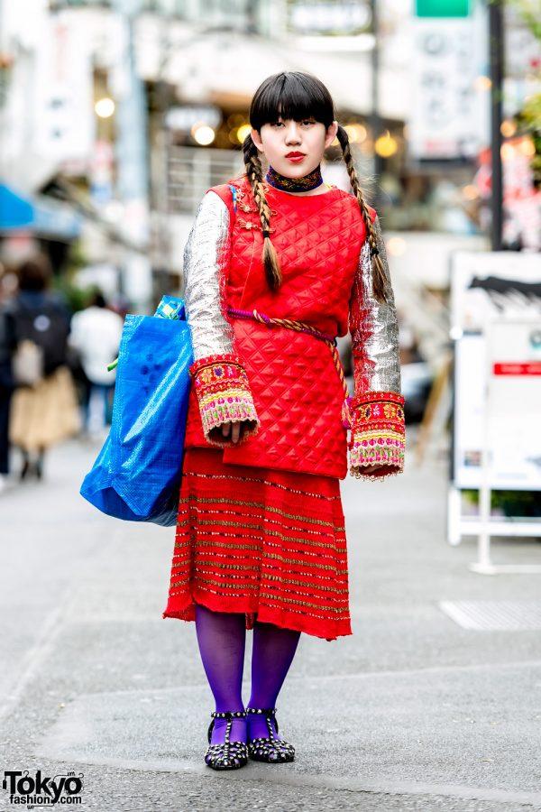 Handmade & Vintage Harajuku Street Style w/ Quilted Metallic Top, IKEA Tote Bag & Sky Room Flats