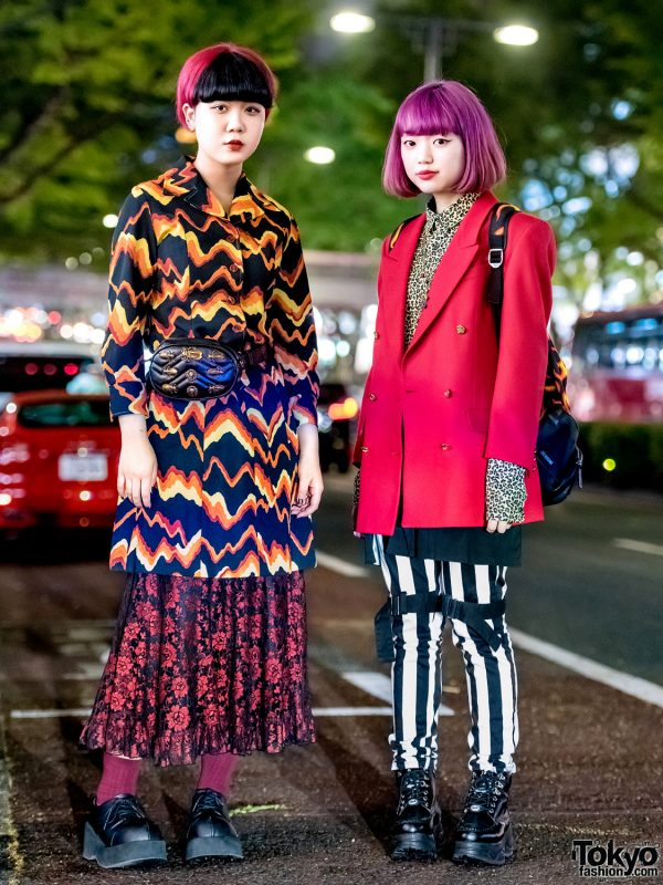 Mixed-Prints Tokyo Street Fashion w/ Coat Dress, Bondage Pants, Flame Backpack & Platform Shoes