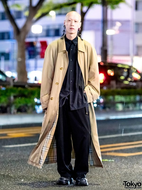 Harajuku Musician & Model in Minimalist Streetwear Style w/ Burberry Coat, Y's Shirt, Dr. Martens Shoes & Statement Tassel Earrings