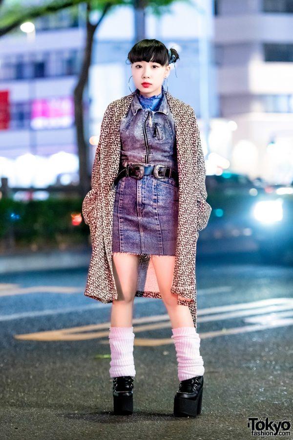 Harajuku Street Style w/ Leopard Print Coat, Remake Denim Skirt & Dolls Kill Platform Booties
