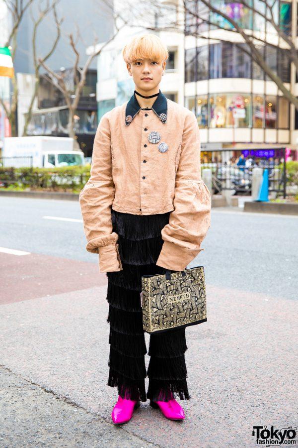 Peach-Haired Harajuku Guy in Retro Vintage Street Style w/ Christopher Nemeth, Vivienne Westwood & Zara