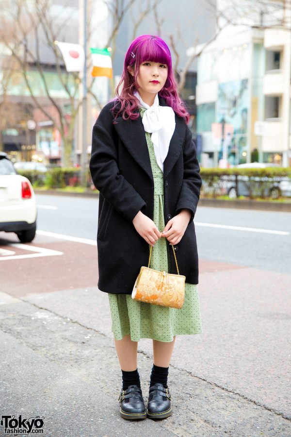 Purple-Haired Harajuku Girl in Chic Retro Vintage Style w/ Dr. Martens Mary Jane Shoes & Floral Print Chain Bag