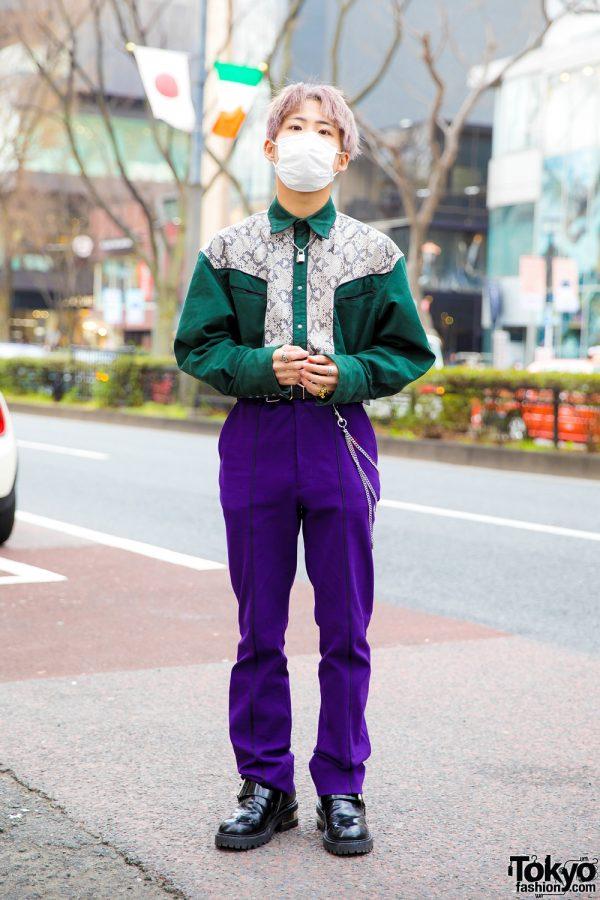 Harajuku Guy in John Lawrence Sullivan Snakeskin Shirt, Purple Pants & Maison Margiela Boots