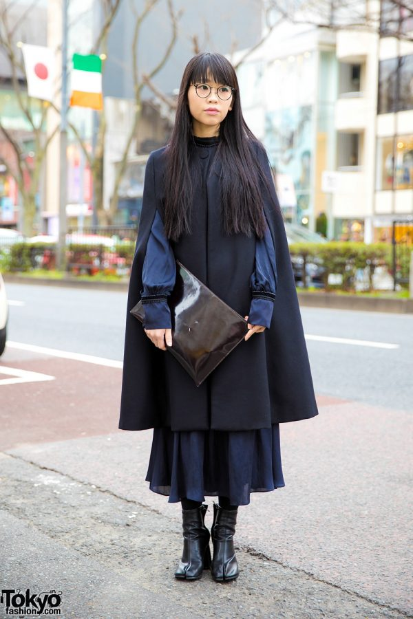 Chic Minimalist Japanese Street Style w/ Cape Coat, Ruffle Dress, Leather Clutch & Tabi Boots