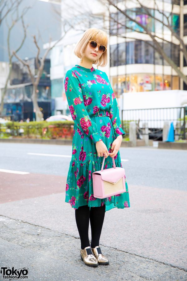 Japanese Art Illustrator in Chic Vintage Fashion w/ Floral Print Belted Dress, Metallic Gold Loafers & Memnon Box Bag