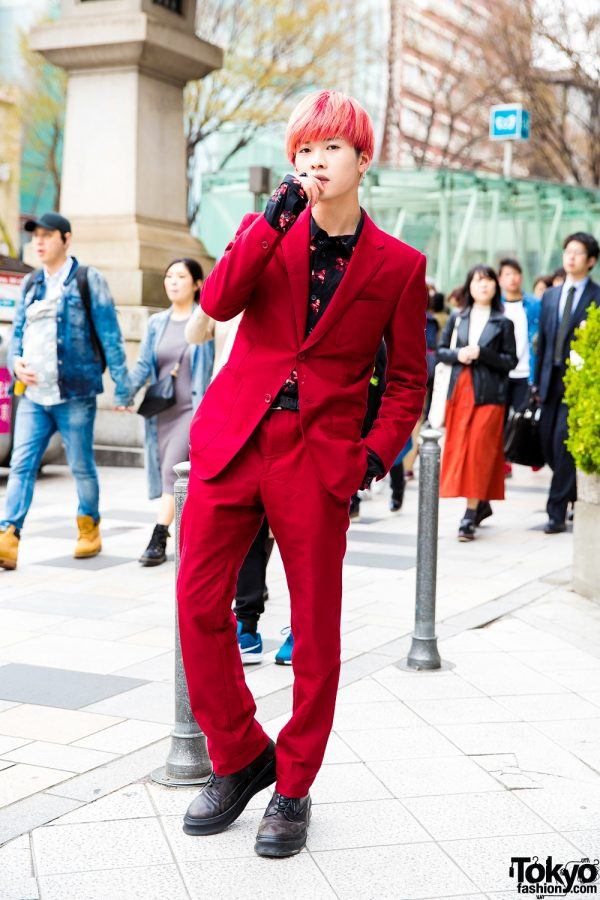 Harajuku Actor w/ Pink Hair in Floral Shirt & Red Balenciaga Suit