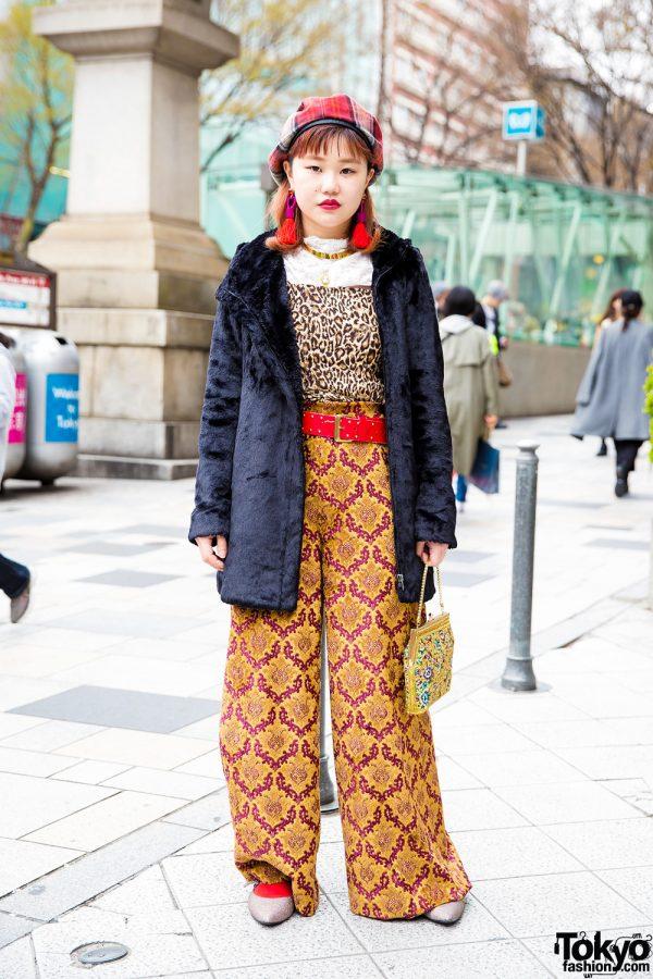 Vintage Harajuku Street Style w/ Mixed Prints, Furry Jacket, Tassel Earrings & Glitter Mary Jane Flats