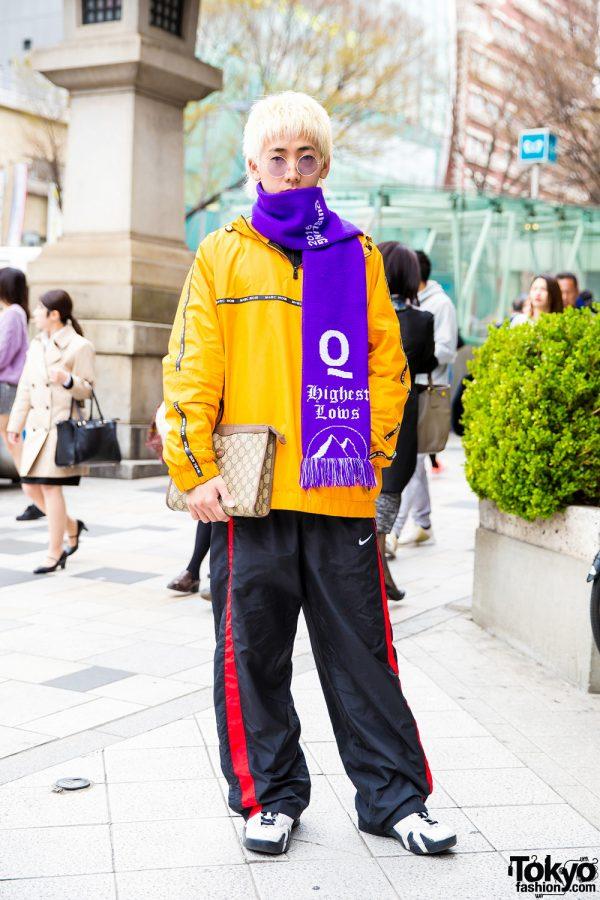 Sporty Harajuku Streetwear Style w/ Purple Scarf, MRC Noir Orange Jacket, Nike Sneakers & Gucci Bag
