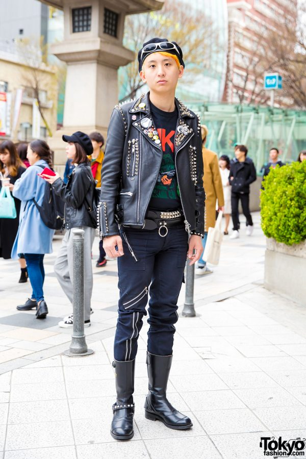 Punk-Inspired Harajuku Street Style w/ Spiked Leather Jacket, Black Graphic Tee, Onitsuka Tiger Pants & Lewis Leathers Boots