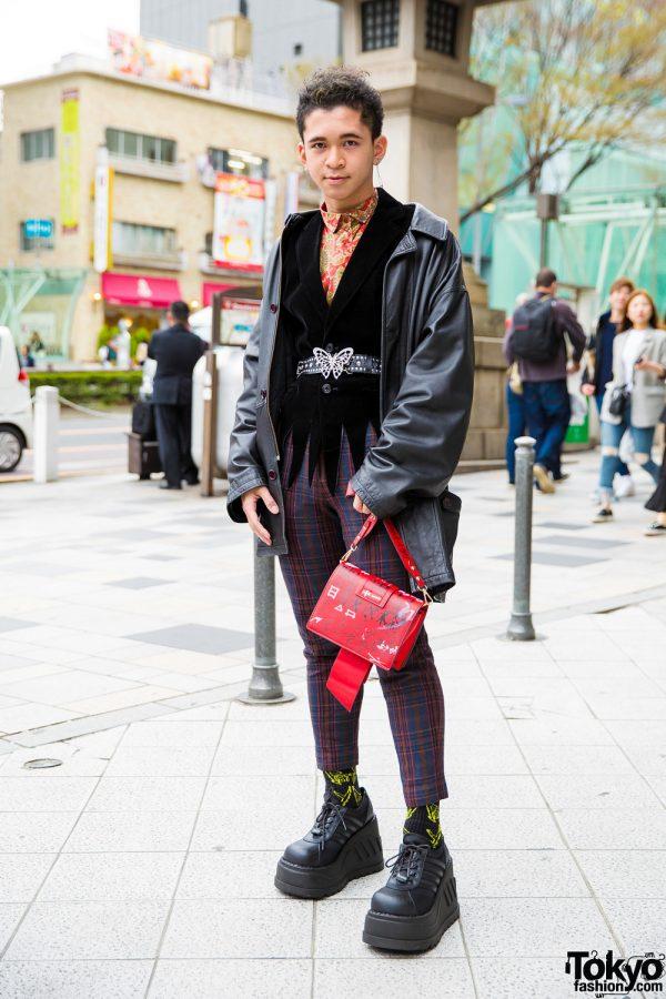 Japanese Vintage Street Style w/ Butterfly Belt Buckle, Miu Miu & Demonia