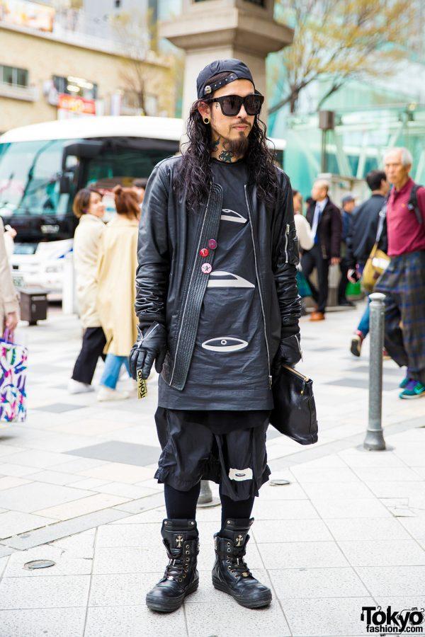 All Black Leather Streetwear w/ Rick Owens, Chrome Hearts, Rolex & Cornelian Taurus By Daisuke Iwanaga